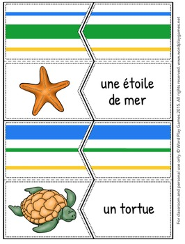 Les Animaux de la Mer / Sea Animals in French - Self-Correcting Puzzles