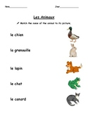 Les Animaux matching activity