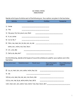 Les Articles Mixed Review Worksheets