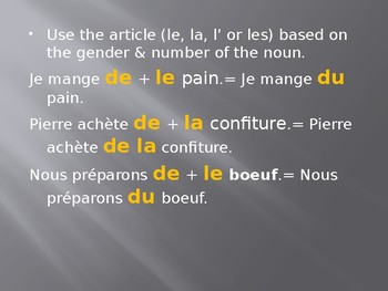 Les Articles Partitives