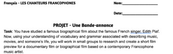 Les Chanteurs Francophones French Singers Biography Movie Trailer Project