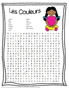 Les Couleurs ~ French Colors Cross Word Puzzle