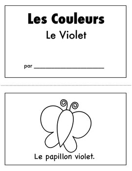 Les Couleurs:  French Emergent Reader for the color Purple
