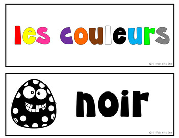 Les Couleurs (The Colors) French Vocabulary Cards