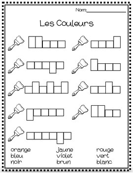 les couleurs worksheet by the joy filled classroom tpt. Black Bedroom Furniture Sets. Home Design Ideas