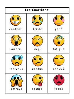 Les Émotions Emojis Bingo -Emotions Vocabulary in French