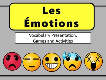 Les Émotions Emojis Vocab Presentation, Games and Worksheets-French Emotions