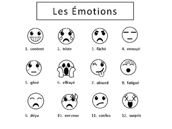 les motions emojis vocabulary word wall french emotions vocabulary. Black Bedroom Furniture Sets. Home Design Ideas