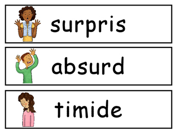 Les Émotions Vocabulary Word Wall – French Emotions Vocabulary