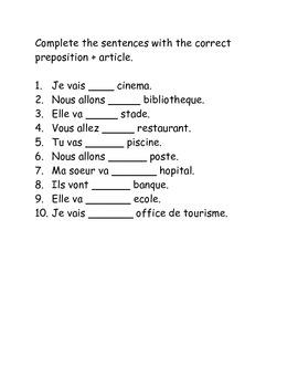 Les Endroits + Aller + Prepositions