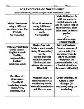 Les Exercices de Vocabulaire