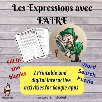 Les Expressions avec FAIRE: Word Search and Fill in the Blank