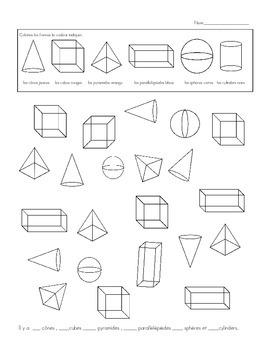 Les Formes  Les Solids Coupe, Cole, Colorie Freebie 3D shapes  Cut, Glue, Color