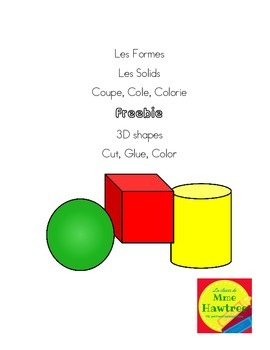 Les Formes  Les Solids Coupe, Cole, Colorie Freebie 3D sha