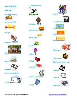 Les Grandes Vacances! Vocabulaire et Activities!