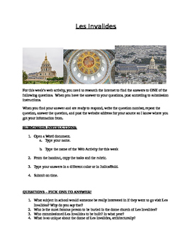 Les Invalides Web Activity for French