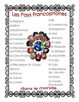 Les Pays Francophones du Monde Flag Project of French Speaking Countries