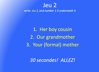 Les Jeux Olympiques : game with family vocab and possessive adjectives