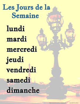 Les Jours de la Semaine French Days of the Week Poster
