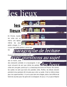Les Lieux FRENCH Reading on Places