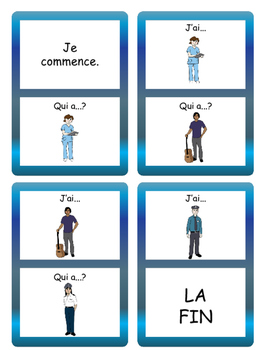 Les Métiers J'ai/Qui a? Card Game- French Jobs Vocabulary
