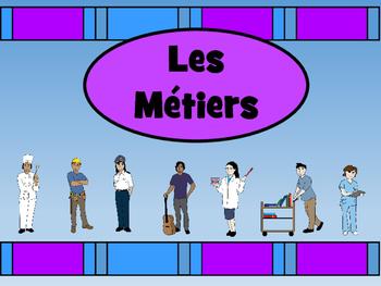 Les Métiers Vocab Presentation, Games, Worksheets and Read