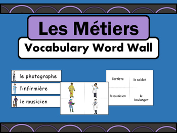 Les Métiers Vocabulary Word Wall – Jobs Vocabulary in French