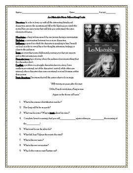 Les Miserables Movie Questions Worksheets Teaching Resources Tpt
