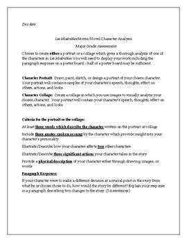 Les Miserables Movie/Novel Character Analysis Assessment