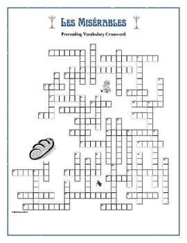 Les Misérables: 50-Word Prereading Crossword—Familiarizes Students Beforehand!