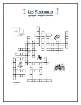 Les Misérables: Synonym/Antonym Crossword—-Use with Bookmarks Plus!