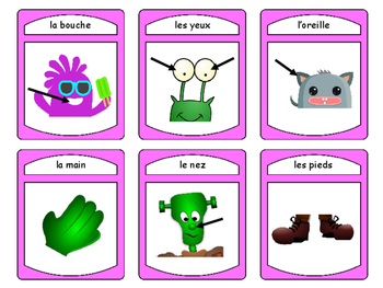 Les Monstres et Le Corps Spoons Card Game -The Body Vocabulary in French