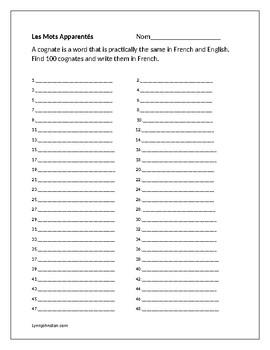 Les Mots Apparentés-Student Form