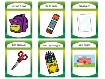Les Objets de la Salle de Classe- Classroom Objects Vocab in French Card Games