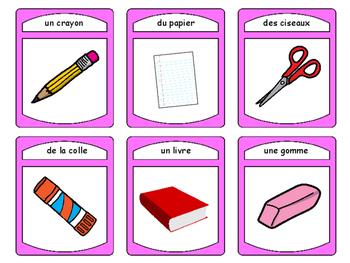 Les Objets de la Salle de Classe Spoons Card Game-French Classroom Objects Vocab