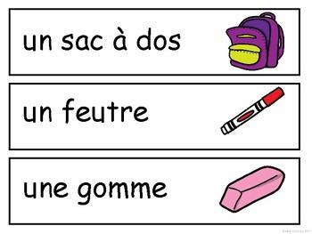 Les Objets de la Salle de Classe Word Wall - French Classroom Objects Vocabulary