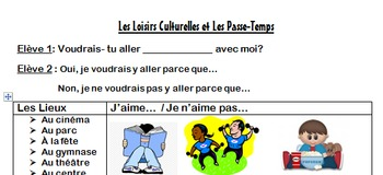 Les Passe-Temps Partner Speaking Activity