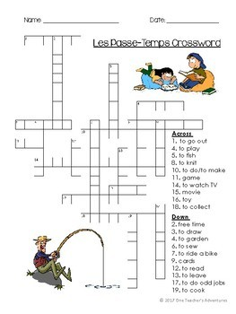 Les Passe-Temps Vocabulaire - Beginner French Hobbies Vocabulary Pack Grades 4-7