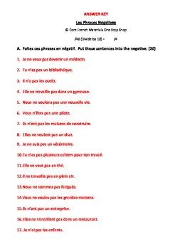 Les Phrases Negatives/Negative Sentences in French Homework Sheet