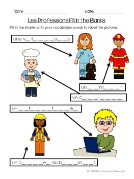 Les Professions - French jobs and occupations vocabulary activities and quiz