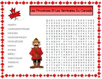 Les Provinces et les Territoires du Canada Mots Cachés