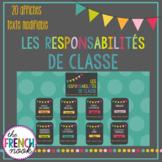 Les Responsabilités De Classe - Editable French classroom