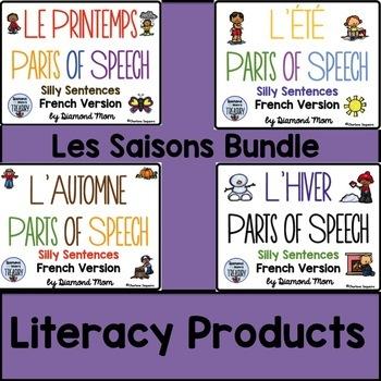 Les Saisons Parts of Speech Silly Sentences French Version Bundle
