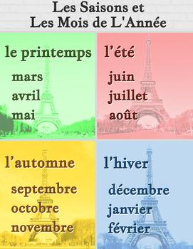 Les saisons et les mois de l 39 ann e french seasons and months poster - Saisons de l annee ...