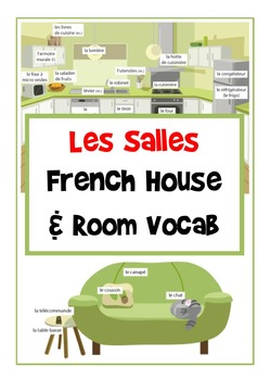 Les Salles - French House and Room Vocab Large Flashcards/ Posters