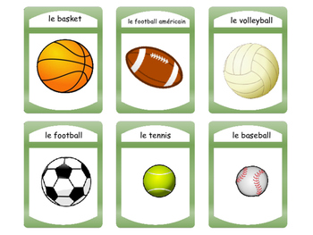 Les Sports -Spoons Card Game-The Sports Vocabulary in French