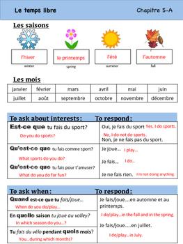 Les Sports et les Passe-temps Vocabulary Organizer (Bien Dit! 1 Ch. 5)