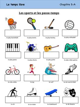 les sports et les passe temps vocabulary organizer bien dit 1 ch 5. Black Bedroom Furniture Sets. Home Design Ideas