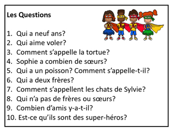 Les Super-Amis-French Super Friends – Reading Comprehension Activity Packet