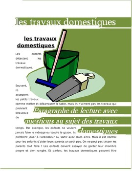 Les Travaux domesques FRENCH reading about chores